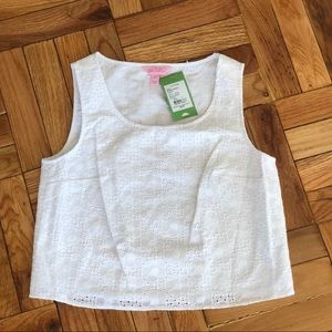 Lilly Pulitzer Resort White Daisy Eyelet Lux Top